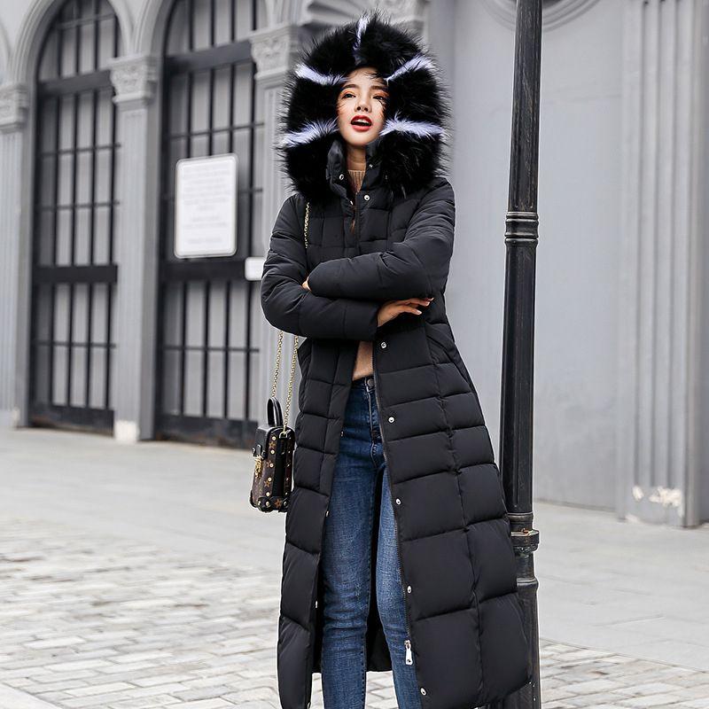 Kadınlar T191023 İçin Yeni Yastıklı Ceket 2019 uzun Moda Kış Ceket Kadınlar Kalın Aşağı Parkas dişi İnce Kürk Yaka Kış Sıcak Coat