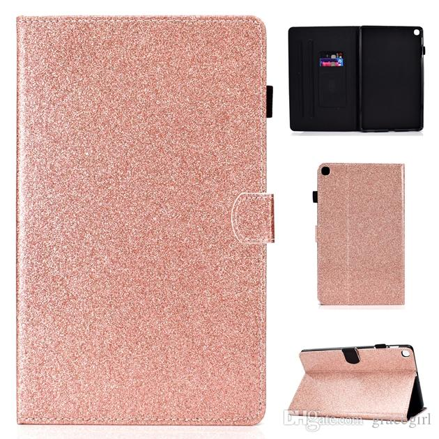 For Samsung Galaxy Tab S5e T720 T725 A 10.1 2019 T510 T515 Tab A 8.0 P200 P205 Tablet Bling Glitter Wallet Leather Case Stand Cover 1pcs