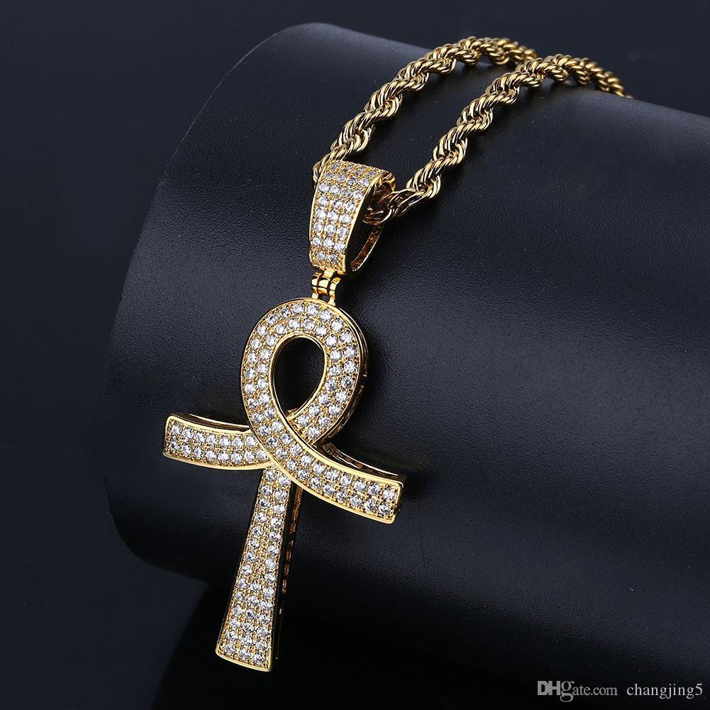 2019 de lujo circonio cúbico Hiphop Cruz collares pendientes para los hombres Bling de hielo fuera de Hip Hop Jesús joyería 18K collar chapado en oro