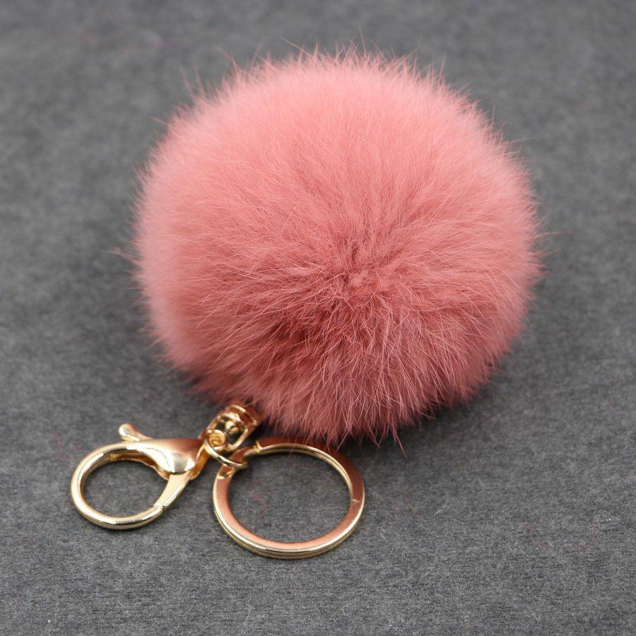 Rabbit fur ball plush key chain round ball fluffy toy keychain hairy car key ring Bag Pendant car keychain