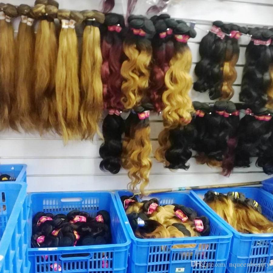 رخيصة بالجملة أومبير لحمة الشعر البشري عذراء الطبيعي بيرو ريمي 10PCS / الكثير موجة الجسم أو مباشرة