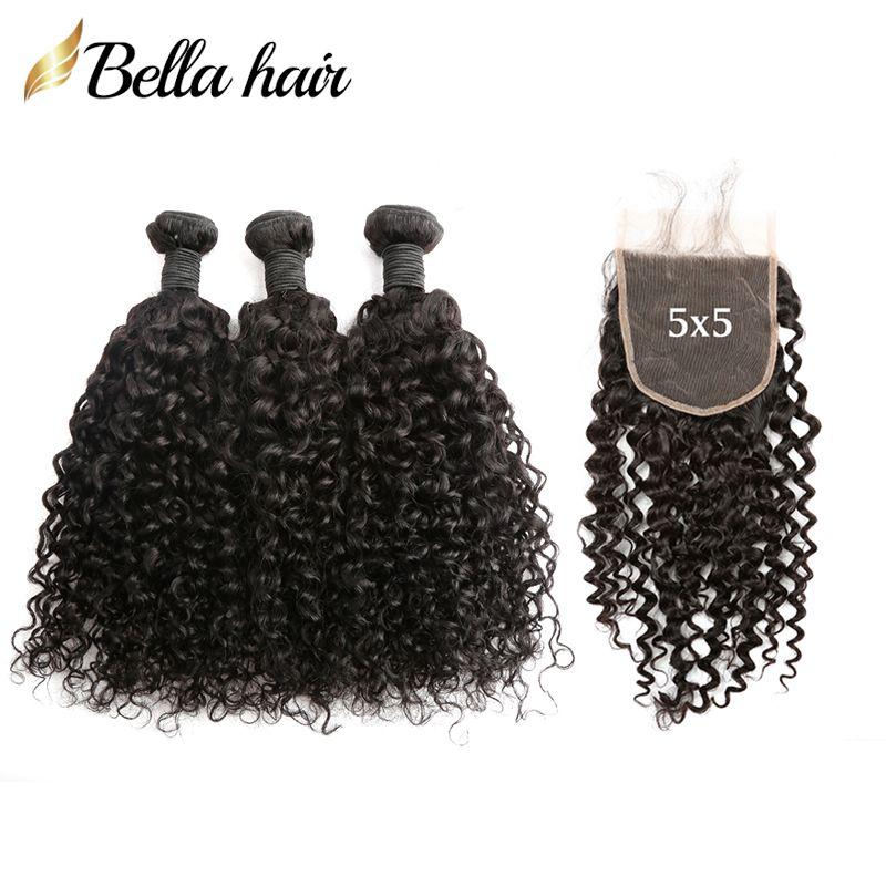 Peruwiańskie włosy 3 wiązki z 5 * 5 Zamknięcie fali kręcone Naturalne czarne dziewicze splot 4 szt / partia Bellahair