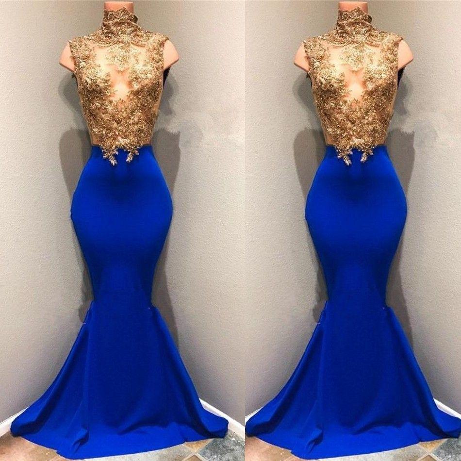 الذهب أعلى متواضع الأفريقي الرباط appliqued فساتين السهرة 2019 عالية الرقبة حورية البحر الترتر الأزرق الملكي أكمام شير فساتين السهرة BA8174