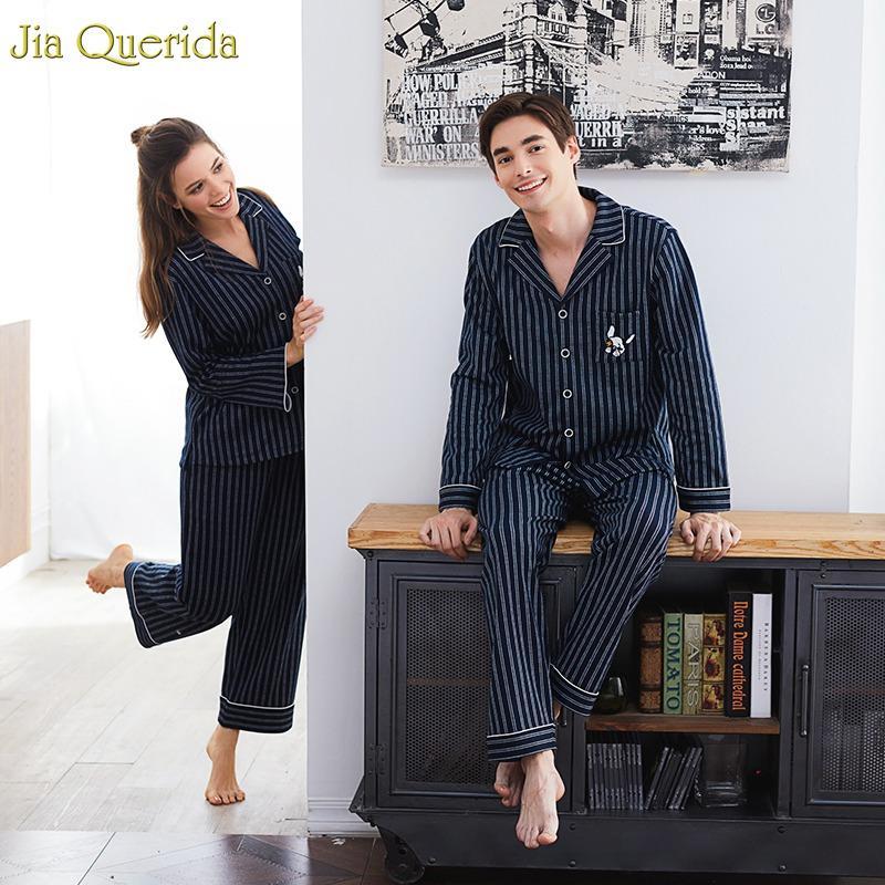 Marca casal pijama algodão cardigan de mangas compridas homens e mulheres pijama listra cão bordado lapela casal casa terno sono desgaste