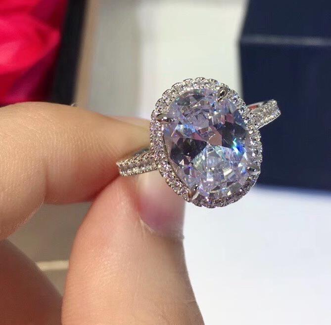 925 Bague en argent sterling CZ cristal Big ovale promesse bijoux de mariage de partie femelle argent doigt bagues bague en pierre magnifique bijou géométrique