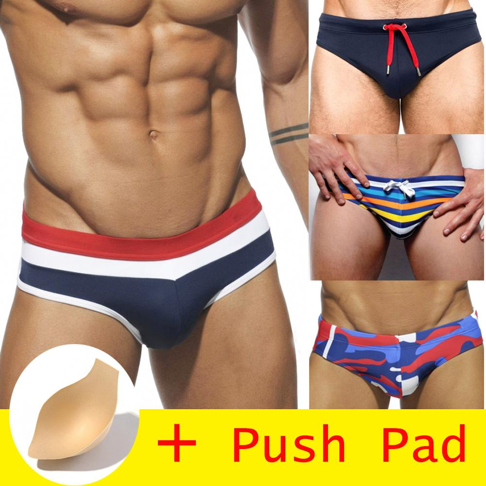 2019 new 17 Styles Swimwear Men Brief With Push Pad Sexy Swimsuit Waterproof Swimming Trunks For Bathing Swim Shorts