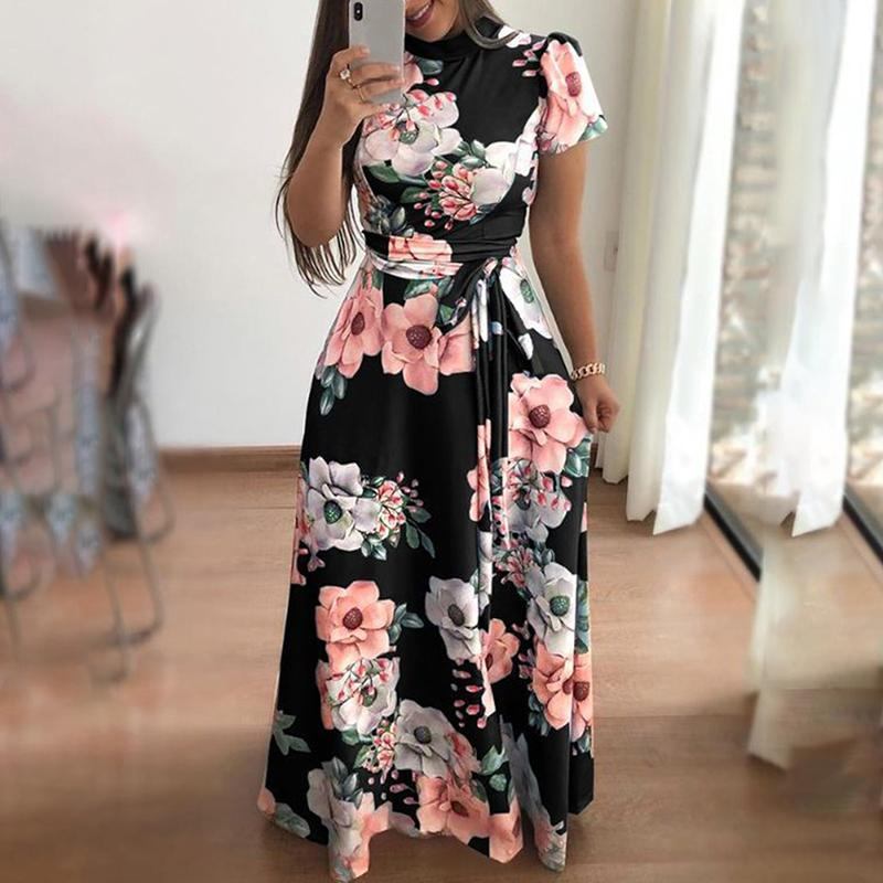 Vestido de verano Otoño 2019 de manga corta casuales largo del vestido de Boho de la impresión floral maxi cuello alto vendaje vestidos elegantes Vestido