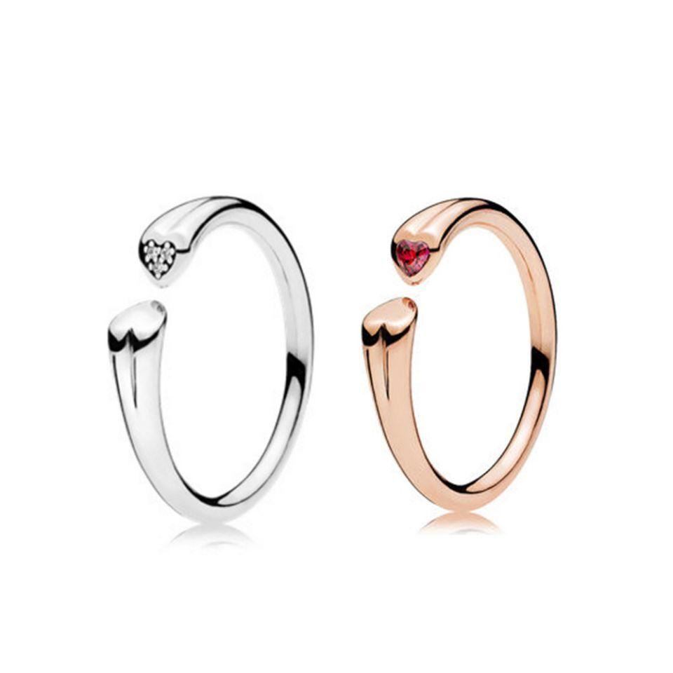loves S925 plated RING Original Box for Pandora 925 Sterling Silver CZ Heart Red gem Women Wedding Ring Set