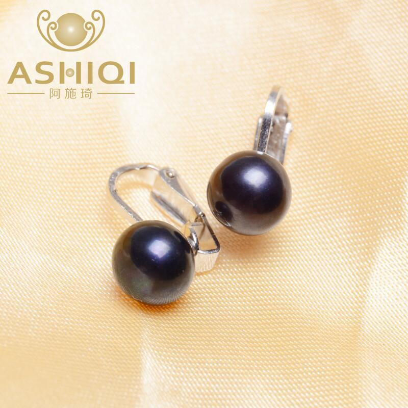 ASHIQI Real 925 sterling silver ear clip on earrings 8.5-9 mm natural freshwater pearl jewelry for women
