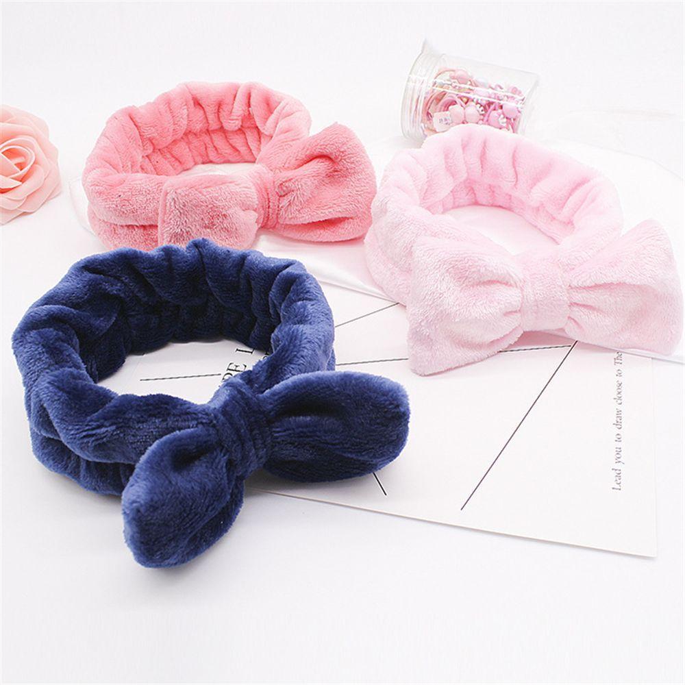 Flanela Cosmetic Headbands macia bowknot cabelo elástico Hairlace para Lavar a Cara spa chuveiro pincéis de maquiagem Ferramentas