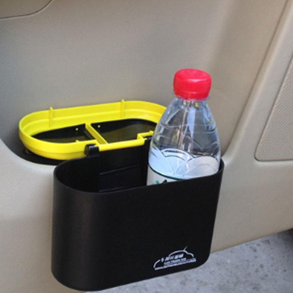Car Interior Accessory Plastic trash Rubbish Bin Flip Case Can Holder Yellow