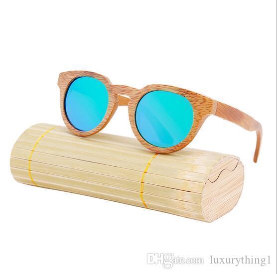 2017 Yeni moda Ürünleri Erkek Kadın Cam Bambu Sunglasses au Retro Vintage Ahşap Mercek Ahşap Çerçeve El Yapımı