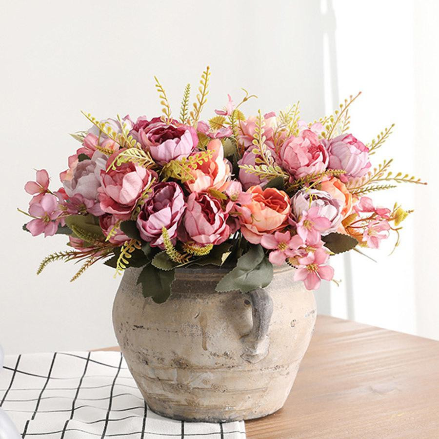 5 Head Bouquet Peony Artificial Flowers Small White Silk Peonies Fake Flowers Wedding Party Home Decoration Rose Flower Pink Art