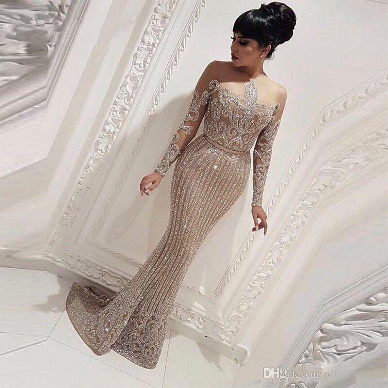 Женщины Вечерние платья Формальные Элегантный длинным рукавом Русалка арабский Дубай платье платья партии abendkleider
