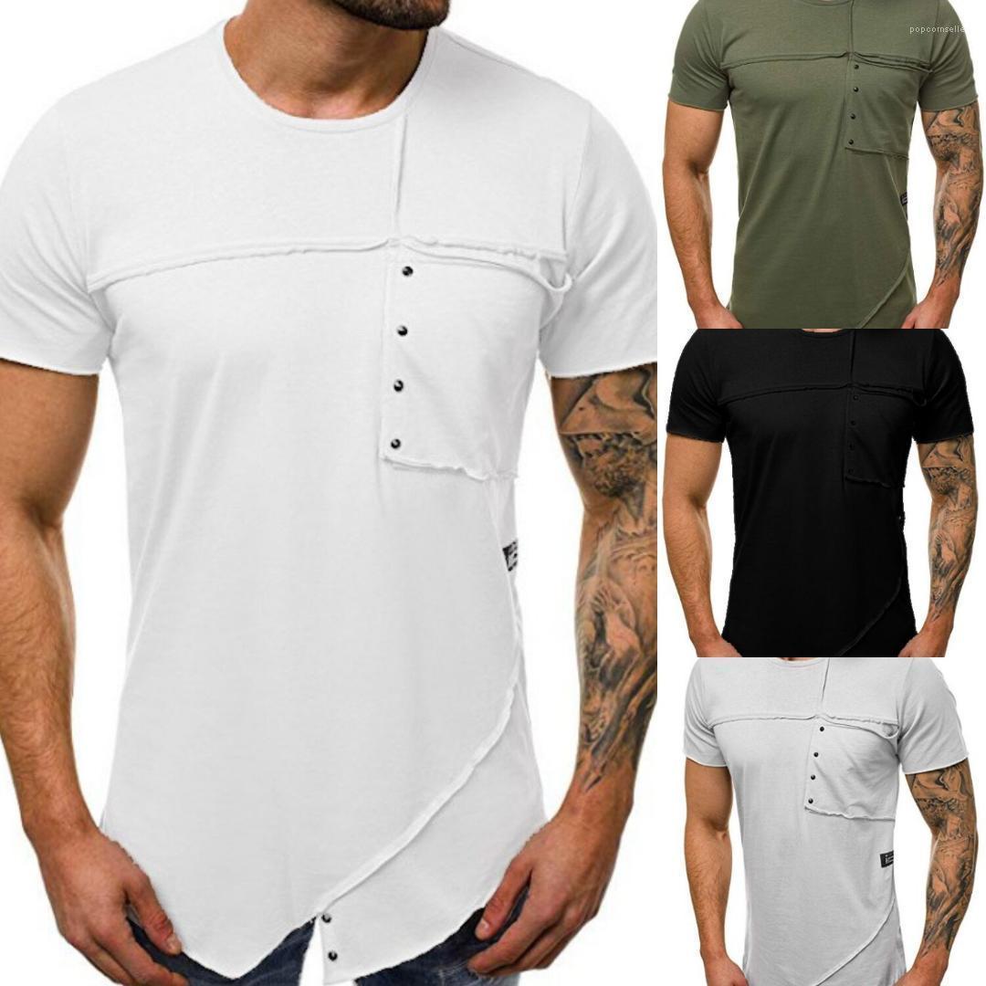 Erkek Casual Erkek Tees Moda Tasarımcısı Kasetli Erkek tişörtleri Yaz O-Boyun Katı Renk Kısa Kollu Skinny Tops