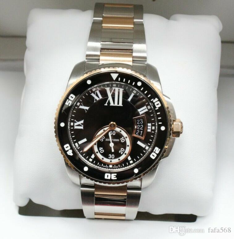 2020 Novo Movimento Calibre de Diver Automático Mecânica Mens Watch Rosa de Ouro 18K w7100054 42mm dos homens Relógios de pulso