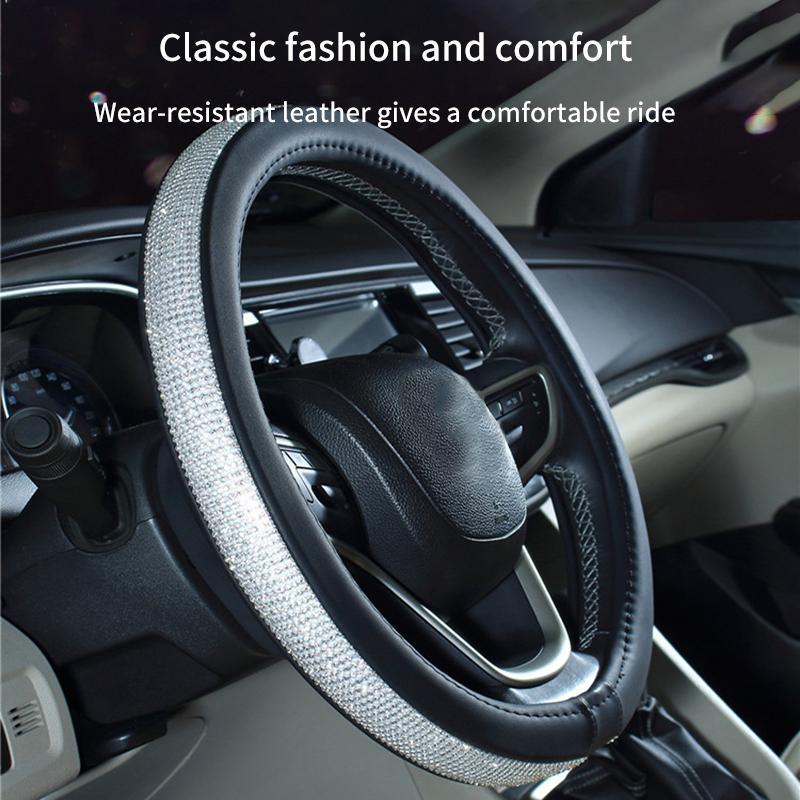Bling Bling Volante diamantes de imitación cristalino del coche de la cubierta de cuero de la PU Volante cubre Auto Accesorios Caso Car Styling