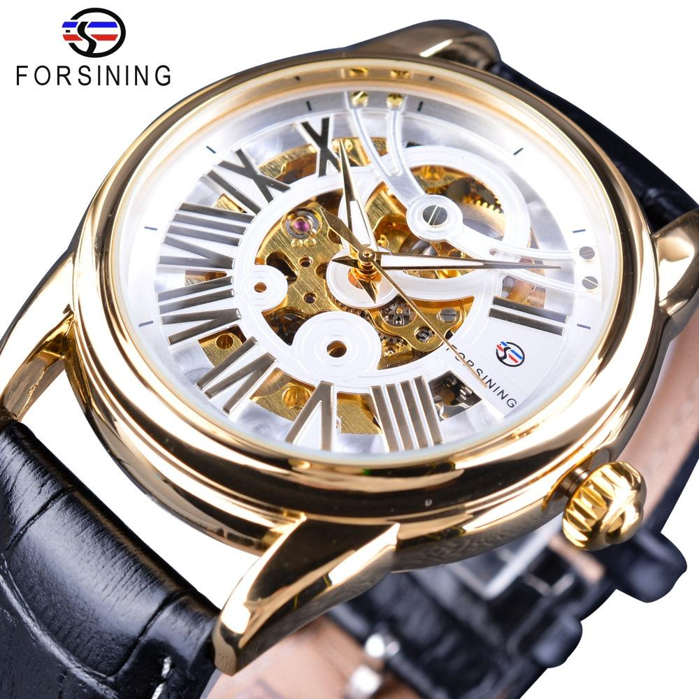 Forsining Official Exclusive Sale Limited Men Golden Bezel Genuine Leather Belt Mens Automatic Skeleton Watch Top Brand Luxury