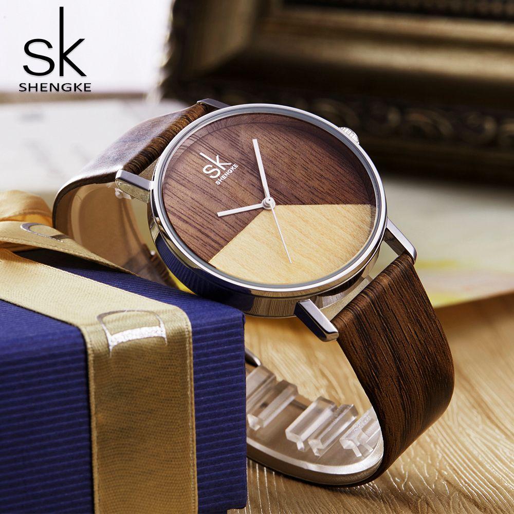 Shengke Qualitäts-Frauen Uhren Holz-Leder-Uhr für Mädchen japanische Quarz-analoge Armbanduhr beiläufige Uhr mit Geschenk-Kasten