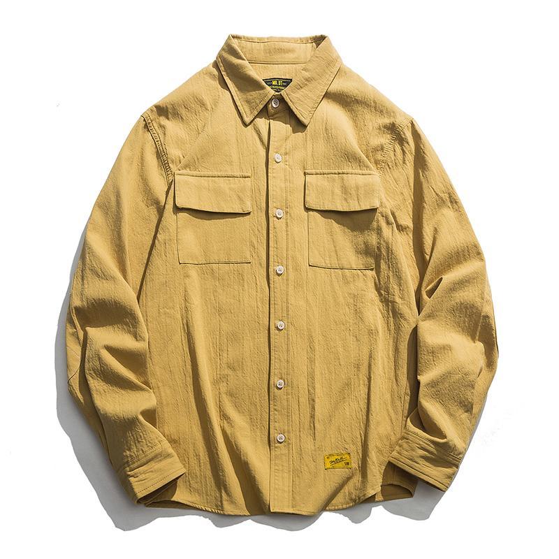 Осенние мужские хлопчатобумажные рубашки китайский стиль мужской винтаж с длинным рукавом свободная рубашка сплошной цвет топы рубашка