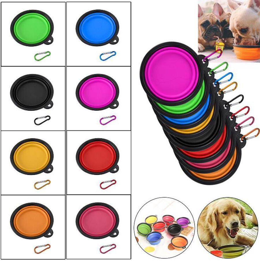 Travel Collapsible Silicone Pets Bowl 12 Colors Food Water Feeding Foldable Cup Dish With Carabiner for Dogs Cat OOA6206