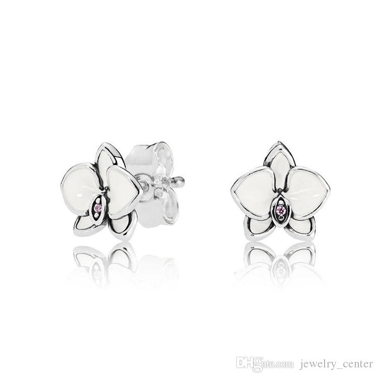White enamel Magnolia Stud Earrings Original Box for Pandora 925 Sterling Silver Small Flower Earring Women Girls Gift Jewelry Set
