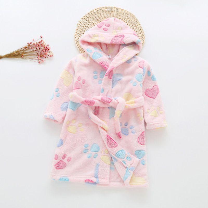 2019 New Baby Girls Winter Flannel Pajamas Kids Boys Cartoon Warm Hooded Sleepwear Children's Coral Velvet Bathrobes B105