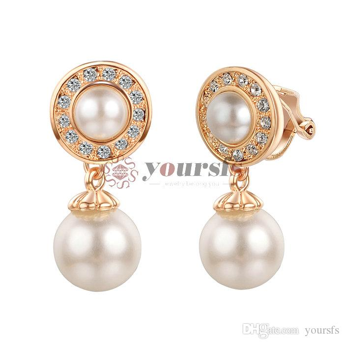 Yoursfs Modeschmuck 18k vergoldet Runde Perle Zirkon Earclip Ohrringe Frau Jubiläum Weihnachtsgeschenk