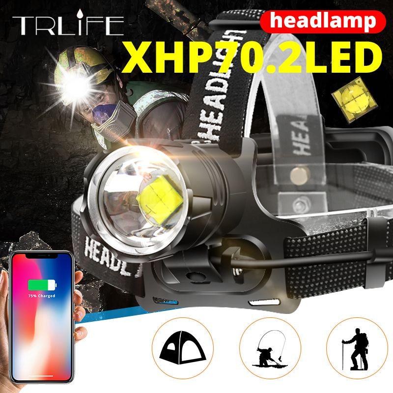 7000 lúmenes XHP-70.2 faro llevado acampa de la pesca del faro de la linterna de alta potencia de la lámpara principal con zoom USB antorchas 18650
