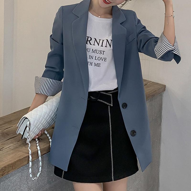 Çizgili Uzun Kollu Casual Blazer Kadınlar Kore Stil Şık Mavi Ofisi ceketler 2XL Siyah Pembe Sokak Casual Blazers Bahar 2020