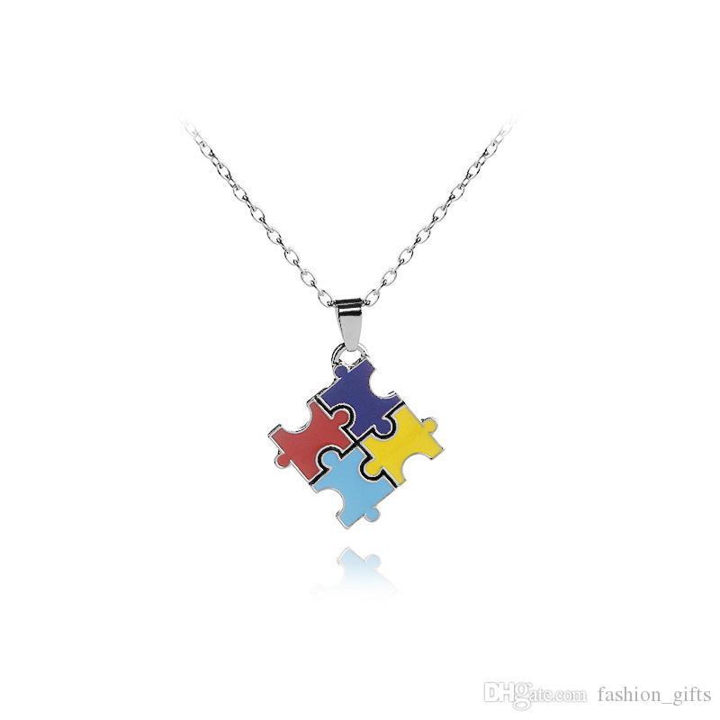 1pc émail coloré puzzle collier pendentif puzzle Cartoon Kawaii cubique meilleur cadeau de famille ami bijoux colorés collier de sensibilisation à l'autisme