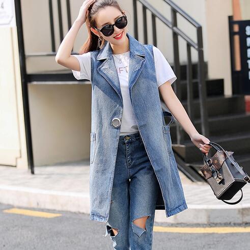 2019 Women Vintage Cowboy Vest Summer Denim Jacket Female Sleeveless Ladies Long Jeans Jacket Vest Plus Size 3XL WF186