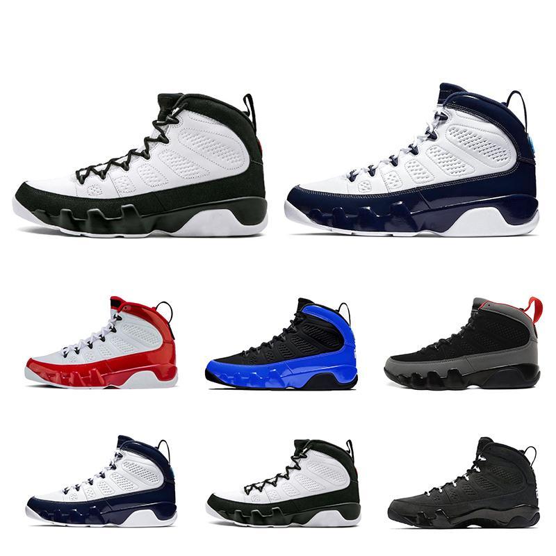 Top Qualitry basquete sapatos 9s couro vermelho branco azul Bred espaço OG jam UNC 9 tênis respirável Sports Sneaker mens trianers
