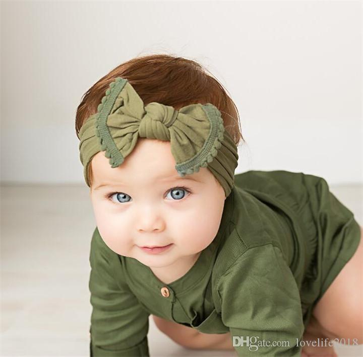 Ins Hot Fashion Bowknot Diadema Soft Nylon Headwear Bebé Niños Accesorios para el cabello Infant Girl Boy Headwrap T322
