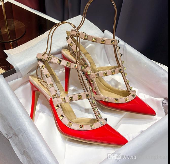 customize colors real leather fashion women shoes designer high heels stiletto heel rivets buckle pumps shoes Size 34 to 42 tradingbear