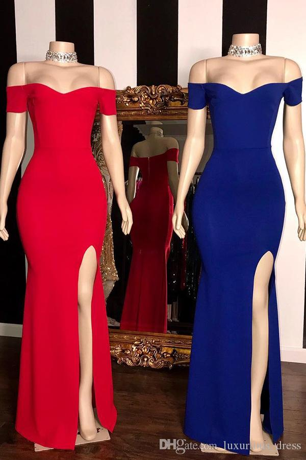 Simple Sexy Off-the-shoulder Evening Dresses Floor-Length Side-Split Sheath Prom Dresses Real Pictures Plus Size Special Occasion Dresses