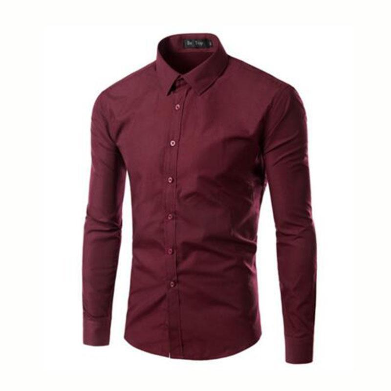 Kore Tarzı Erkekler Uzun Kollu Casual Gömlek Camisa, turn-down Yaka Düz Renk Şeker Renk Gömlek Chemise Slim Fit Açık Havada Giymek