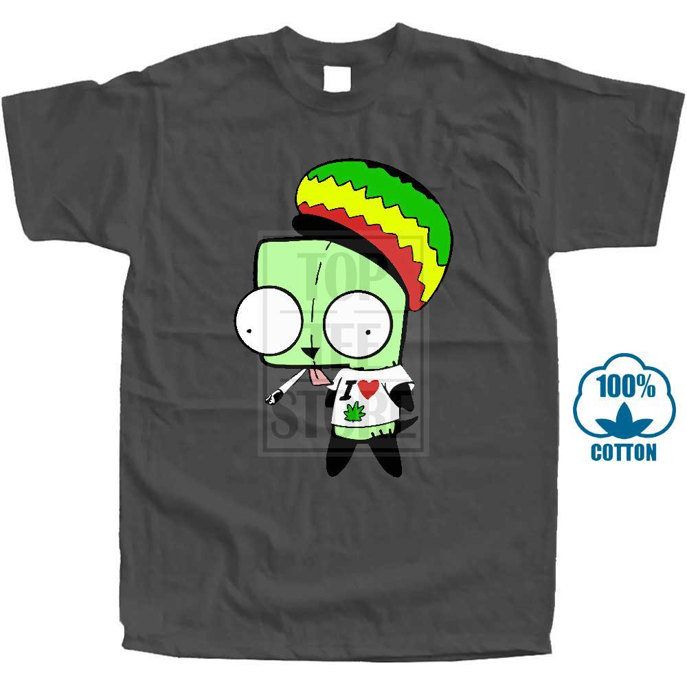 T Shirt Anime Invader Zim Smoking Rasta Art T Shirt disponibile da donna disponibile in nero Novità T-shirt Funny Men