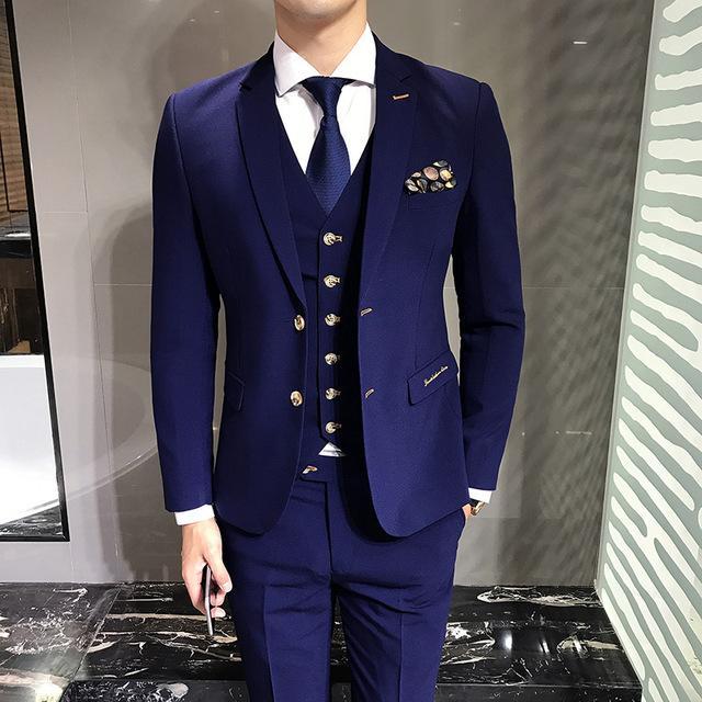 Ternos dos homens Thorndike Azul Jaquetas + Colete + Calças XS-5XL Moda Ternos Dos Homens de Negócios de Casamento Banquete Cavalheiro Elegante roupas
