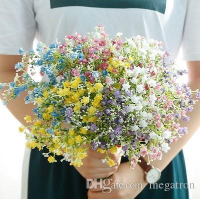 500pcs Creative Artificial Flowers Colorful Gypsophila Long Stem Fake Flowers Bouquet Breath Silk Flower Home Wedding Decor