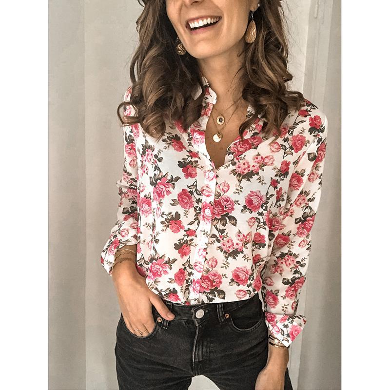 Плюс Размер Женщины Цветочные печати Блуза Офис Дамы воротник отложной с длинным рукавом рубашки случайные рабочая одежда Blusas SJ5630V