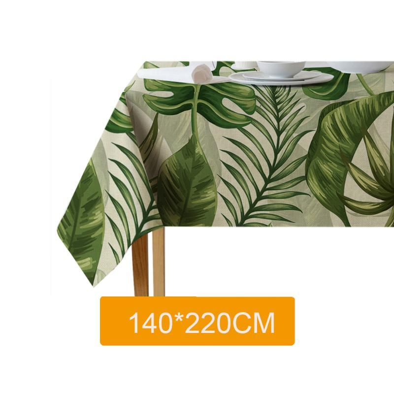 Cotton Linen Leaf Pattern Dining Room Table Cloth Home Waterproof Protective Dustproof Removable Anti Dirt Reusable Lightweight