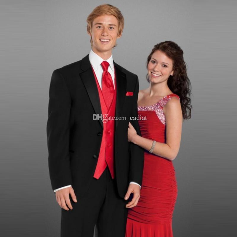 Black Red Slim Fit Wedding Suits For Men Bridegroom Notched Lapel Groom  Wear Formal Jacket+Pants+Vest Groomsman Suits Blazer Tuxedos Costume Formal