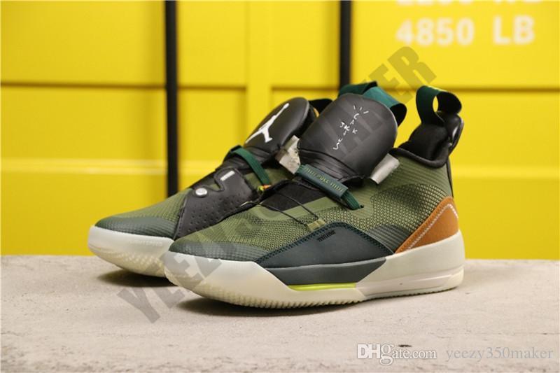 2019 Jumpman Мужские ботинки баскетбола 33s XXXIII TS NRG Army Green Mesh Дизайнер Дышащие Открытый Спорт Кроссовки Размер 7-13