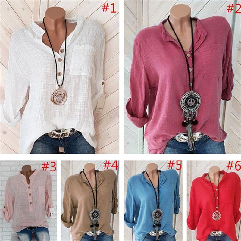 S-5XL Camiseta de las mujeres medio de la manga V-cuello de la camiseta de la blusa del verano del resorte de la camiseta de gran tamaño suéter de lino camisas blusas de mujer Top Clothes