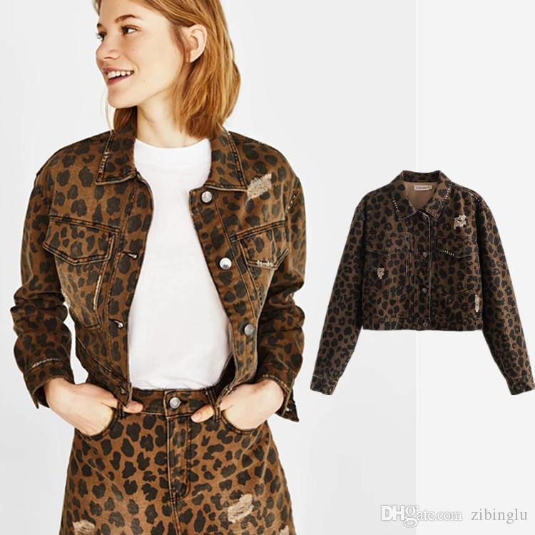 Nuovi abiti da donna, giacca con jeans bucati corti, stampa Euro-American Street Leopard, giacca da donna