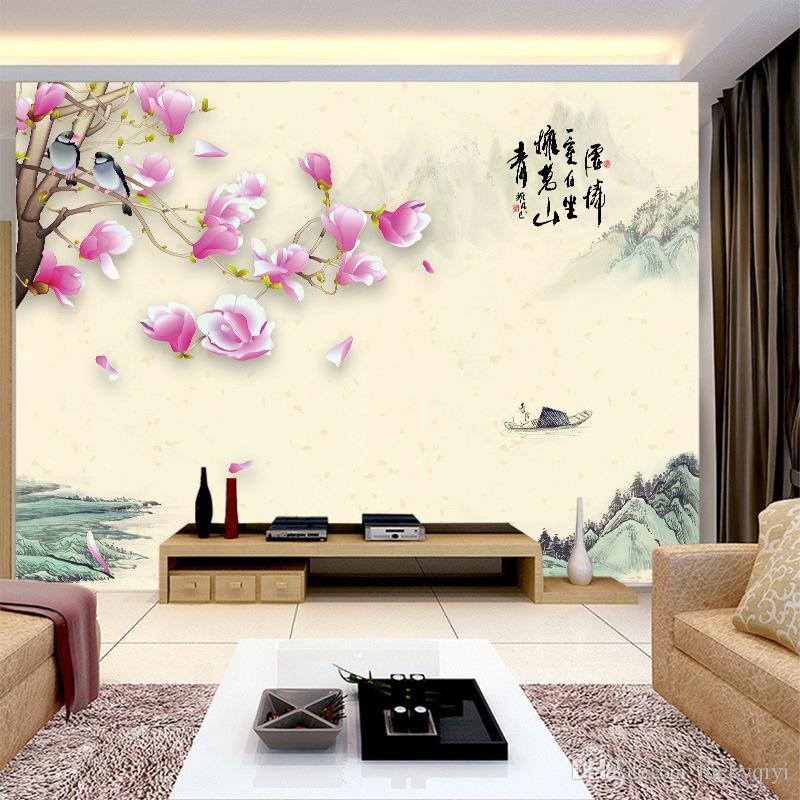 TV 소파 배경 벽 중국어 archaistic 스타일의 벽지 중국어 잉크 풍경 목련 조류와 꽃 벽화 3D