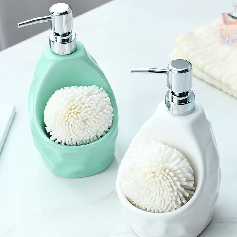 650lml dispensador de sabão de cerâmica para cozinha de cerâmica + ABS de decoração para casa sabão líquido loção acessórios do banheiro dispensador