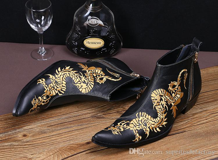 High heels Men's Ankle Boots Genuine Leather Martin Boots China Style Wedding Dress Shoes Men Man Trend embroidered Short Boots