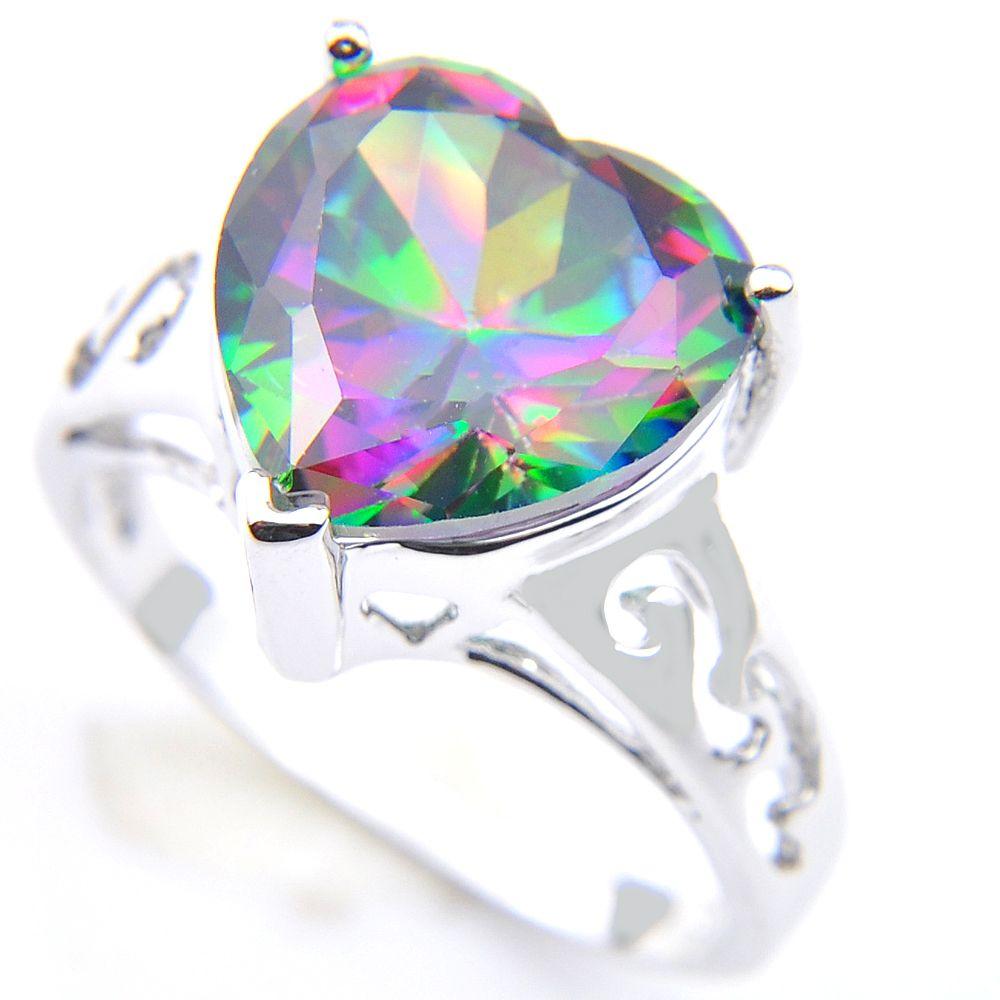 Luckyshine 6 sztuk / partia Walentynki Biżuteria Prezent Piękny Serce Kolorowe Mystic Topaz Gemstone 925 Sterling Posrebrzane Kobiety Pierścień